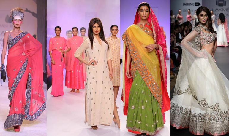 Anju Modi, Priyanka Chopra in Neeta Lulla, Gaurang, Anushree Reddy. Lakmé Fashion Week