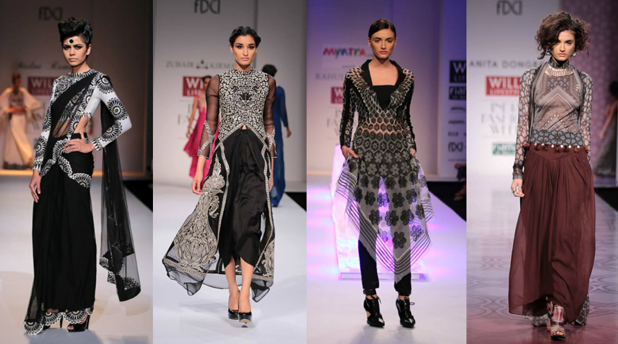Malini Ramani, Zubair Kirmani, Rahul Mishra, Anita Dongre Images: Wills Lifestyle India Fashion Week - Fashion Design Council of India