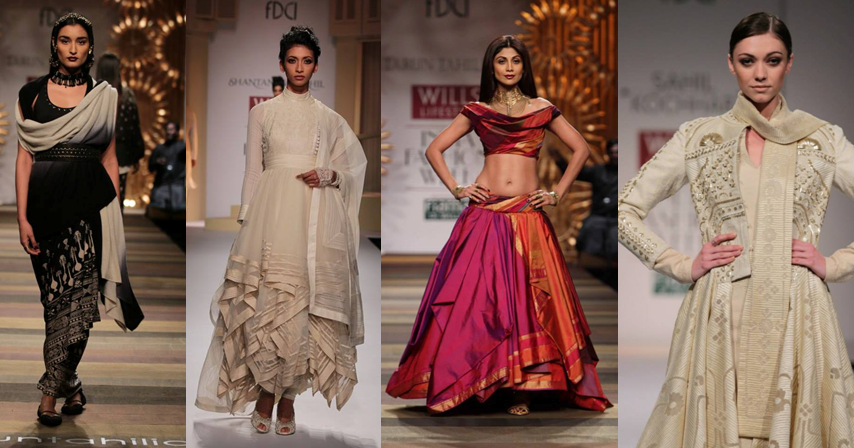 Tarun Tahiliani, Shantanu & Nikhil, Shilpa Shetty in Tarun Tahiliani, Sahil Kochhar Images: Wills Lifestyle India Fashion Week - Fashion Design Council of India