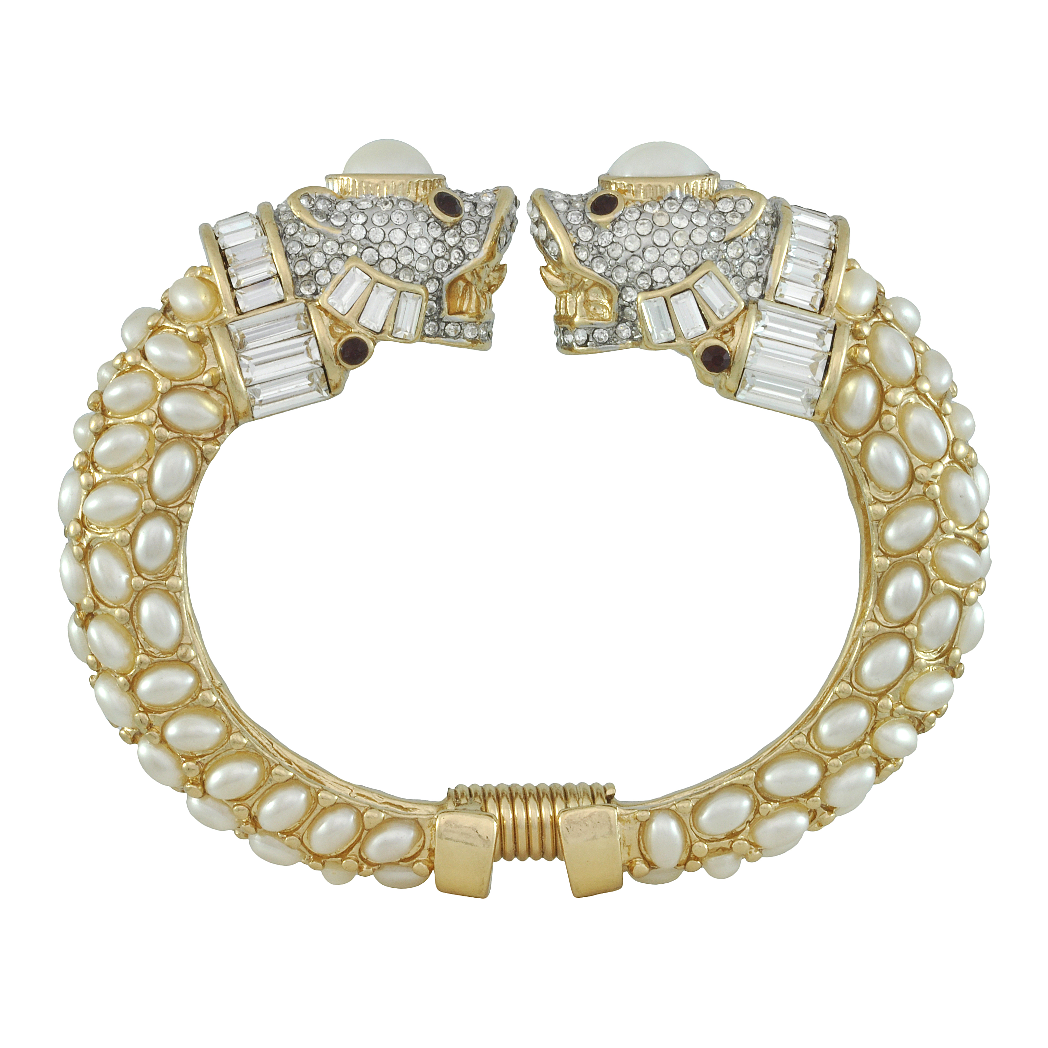 Kenneth Jay Lane Double Lion Head Pearl Bracelet - Sophie's Closet