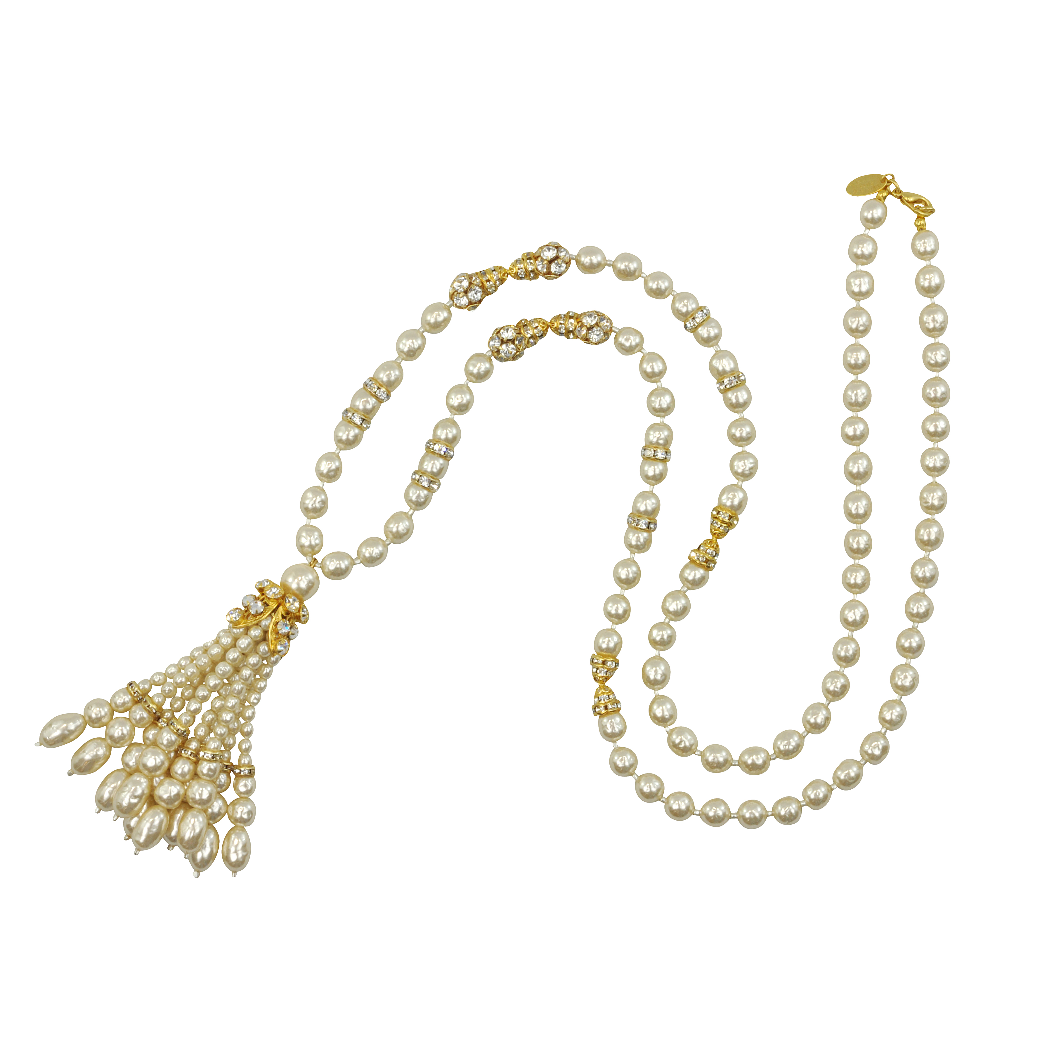 Miriam Haskell Pearl and Chrystal Tassel Necklace - Sophie's Closet