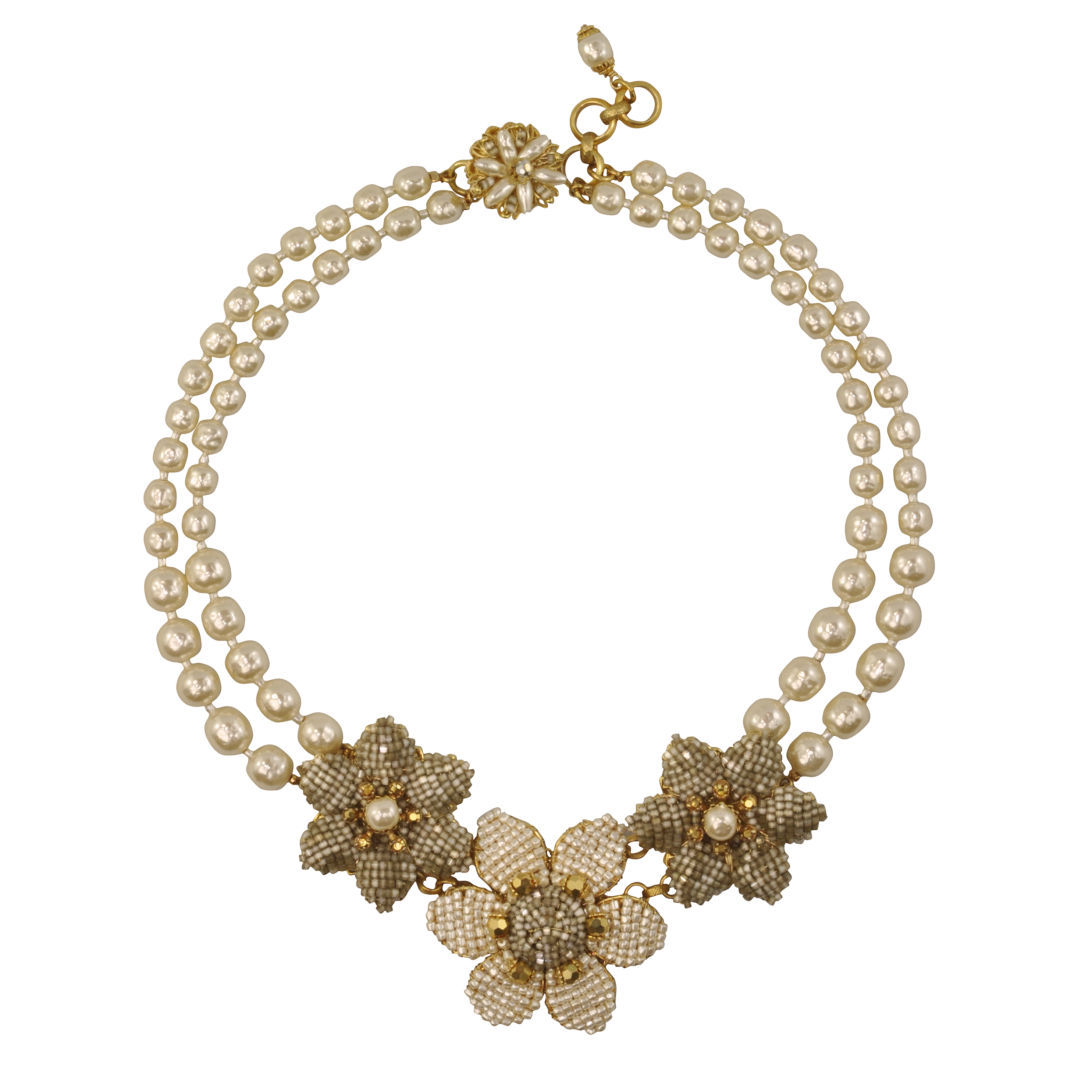 Miriam Haskell Two Strand Flower Necklace - Sophie's Closet