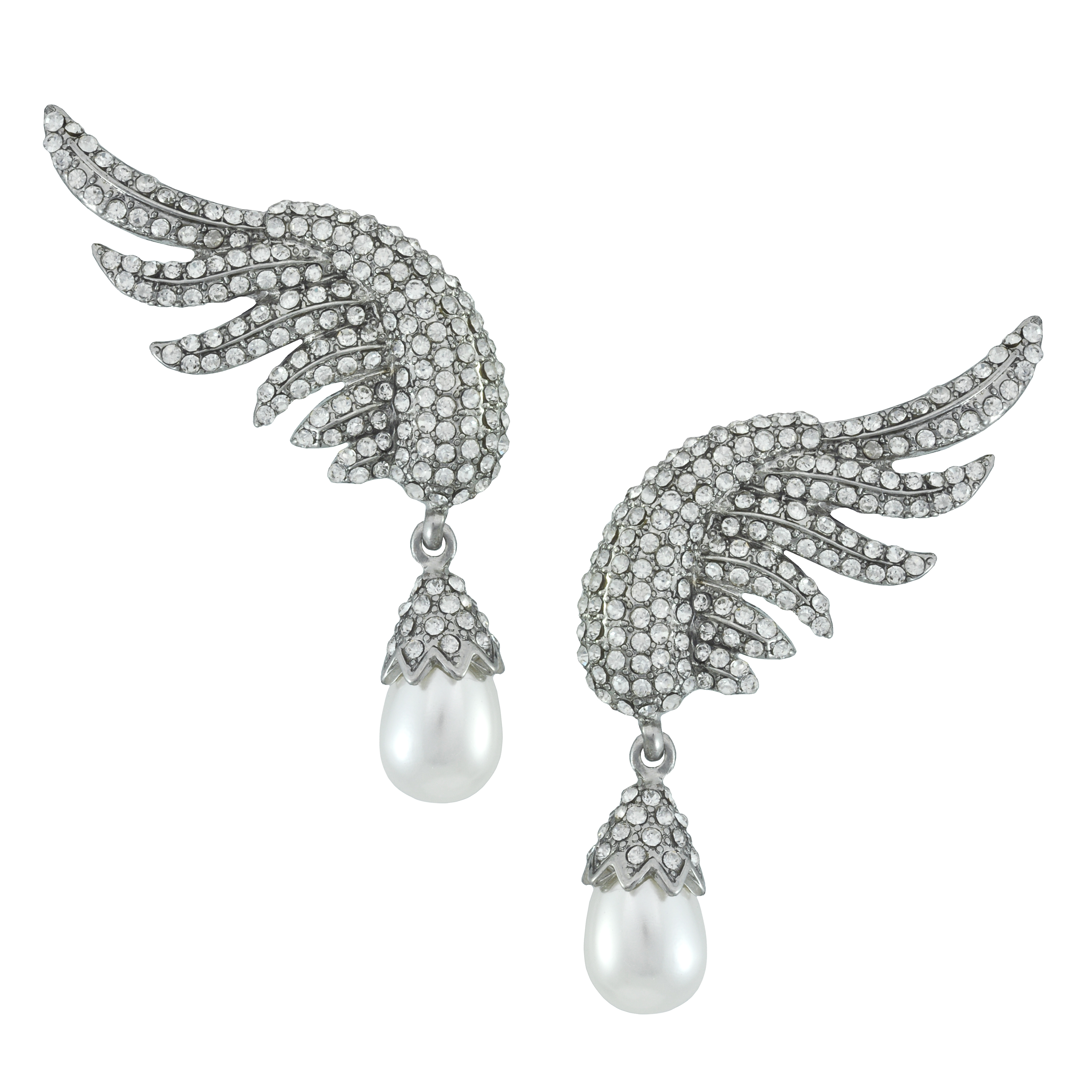 Pink Pave Silver Angel Wing Pearl Drop Earrings - Sophie's Closet