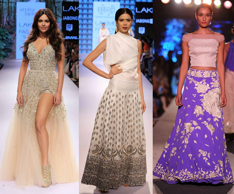 Esha Gupta for Arpita Mehta, Yogesh Chaudhary, Manish Malhotra - Lakmé Fashion Week Summer/Resort 2015