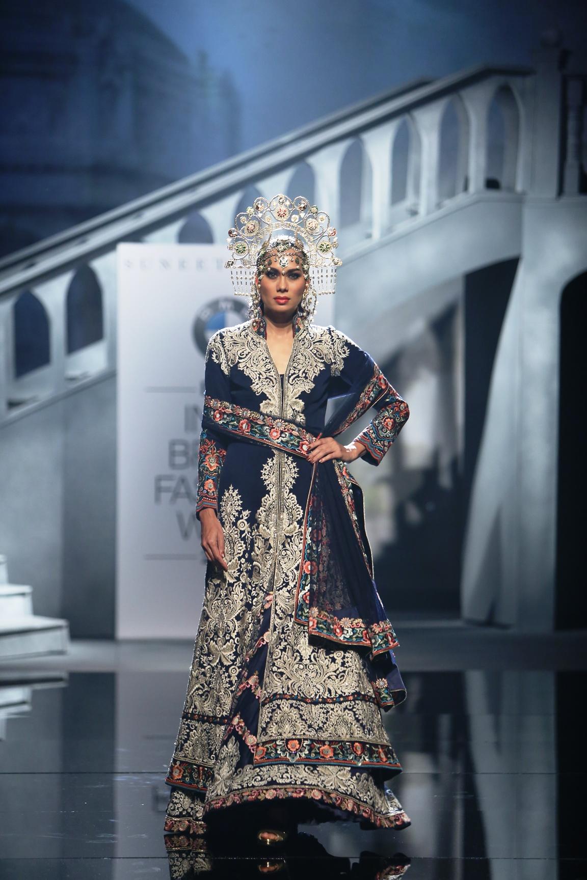 Model in Suneet Varma creation at BMW IBFW 2015
