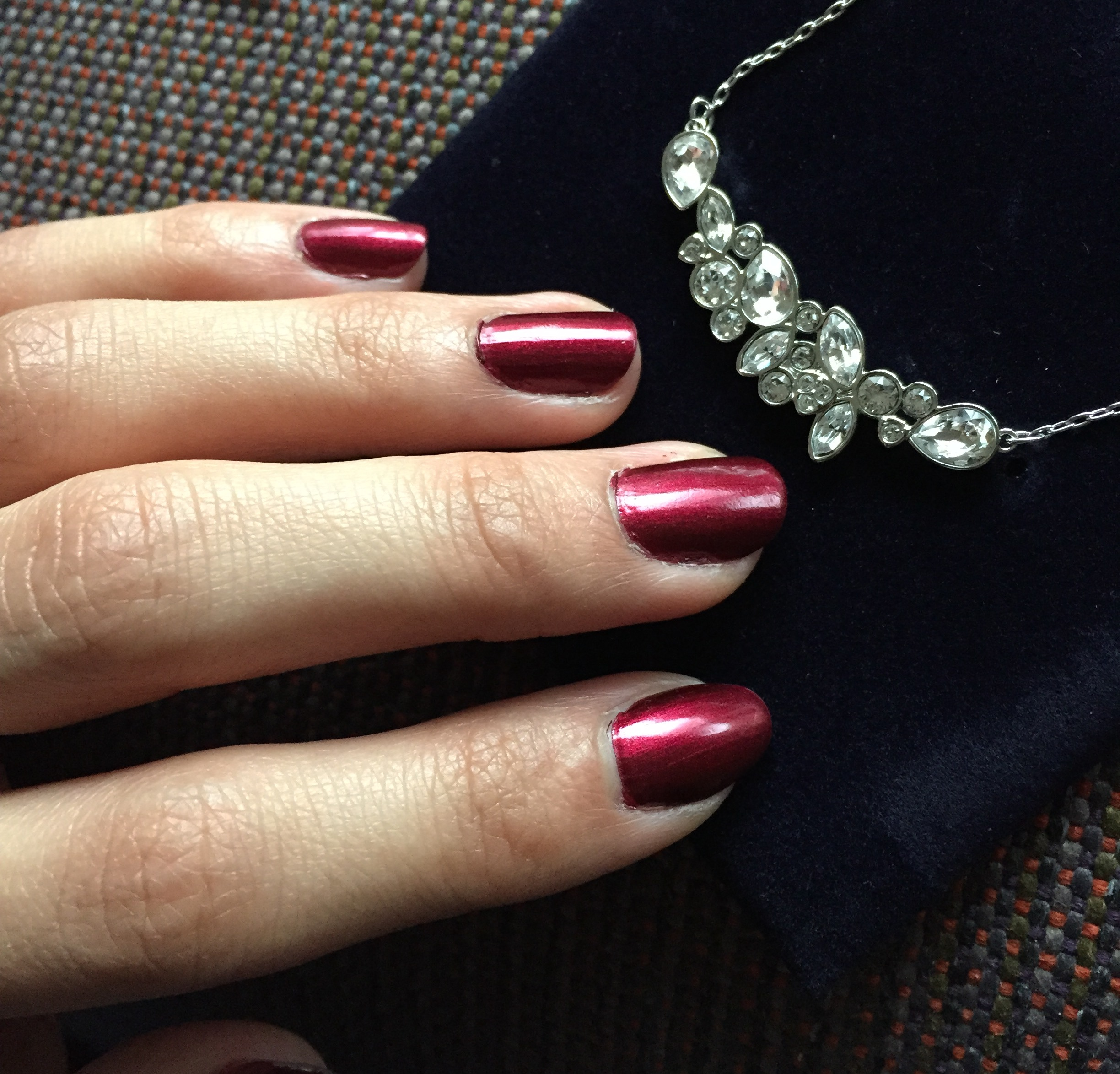 OPI Bogotá Blackberry + Swarovski necklace