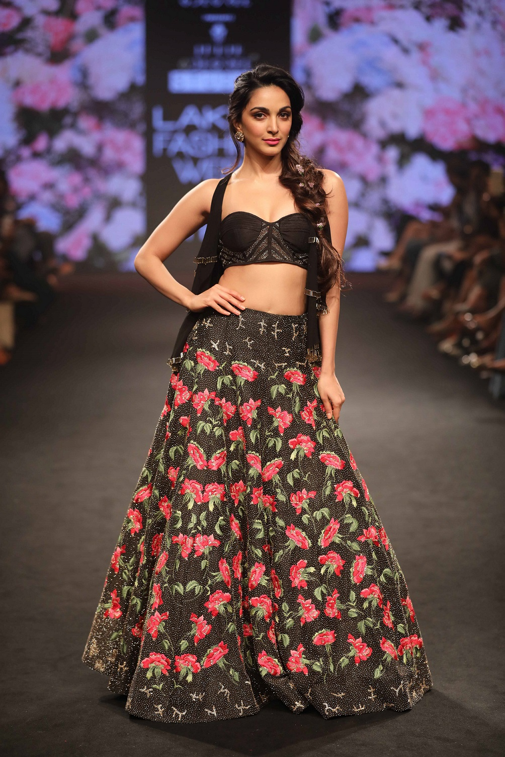 Showstopper Kiara Advani for the collection Gulab Baug at Lakme Fashion Week Summer Resort 2018