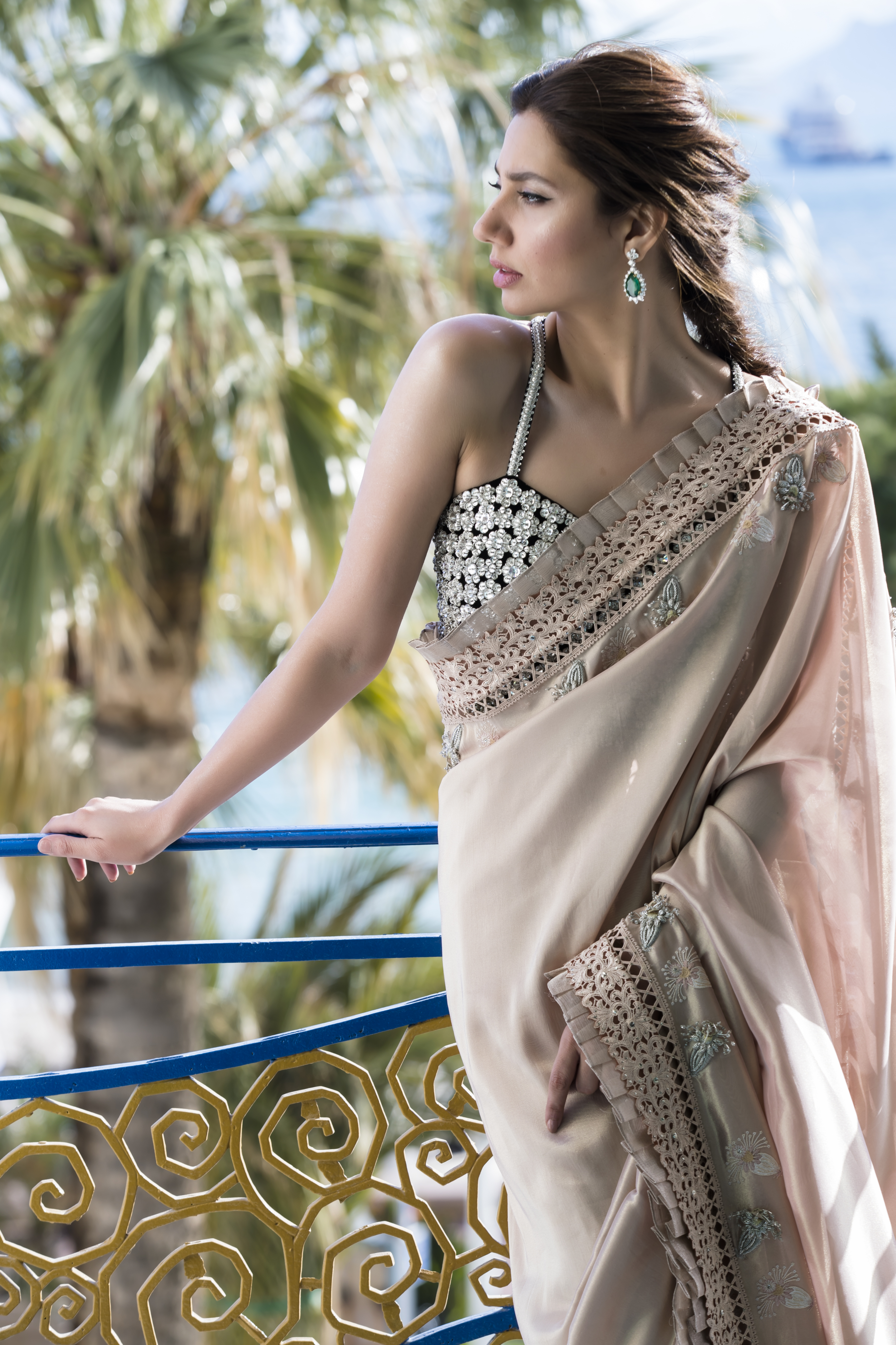L'Oreal Paris Pakistan Hair Care Spokesperson Mahira Khan in Cannes wearing sari by Menahel and Mehreen