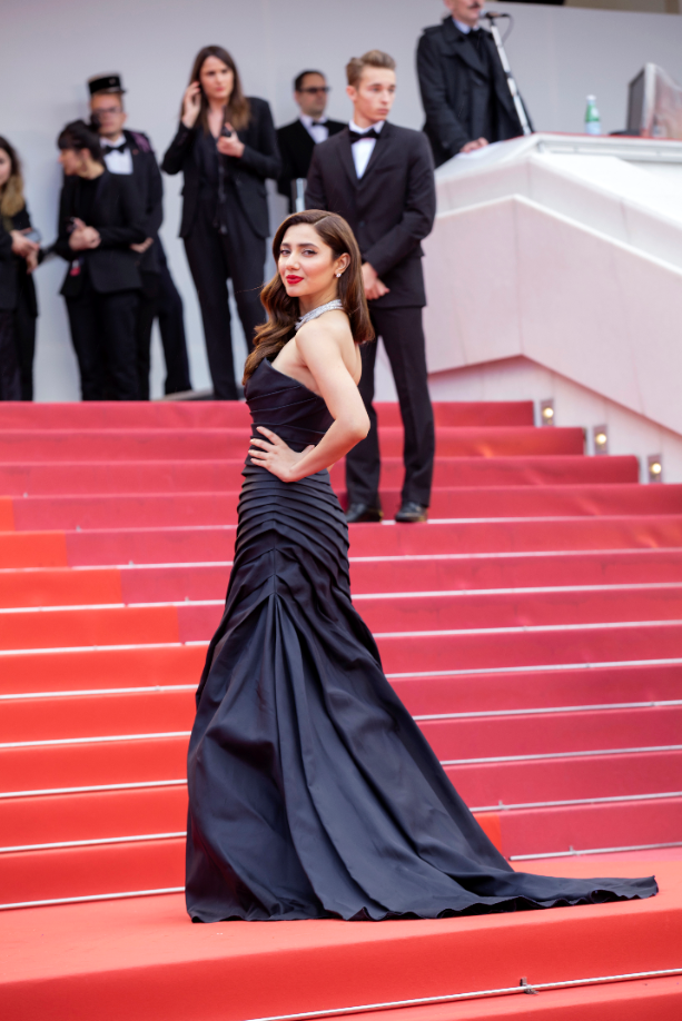 L'Oreal Paris Pakistan Hair Care Spokesperson Mahira Khan at Cannes Film Festival red carpet wearing Alberta Ferretti and Chopard