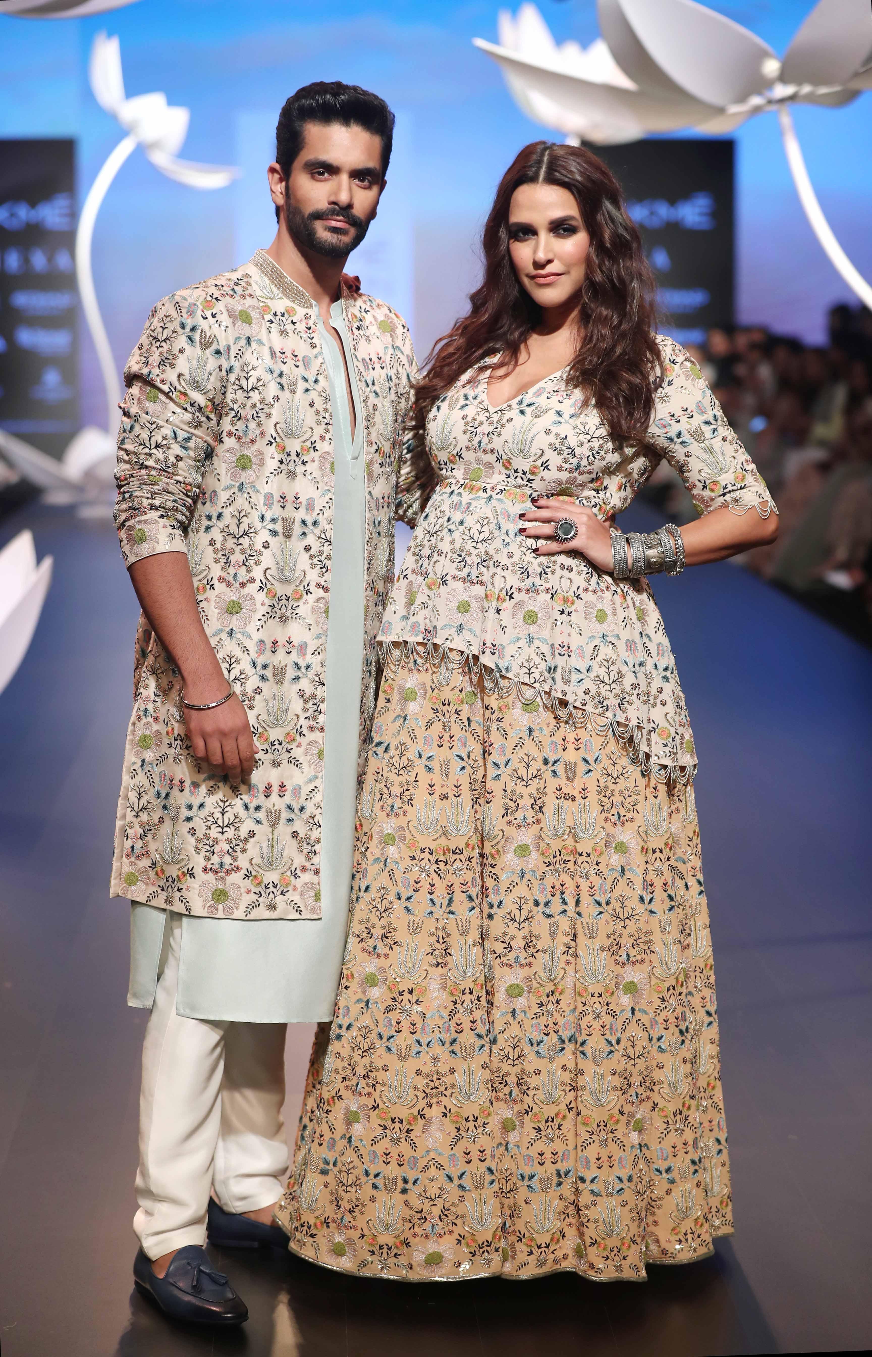 Angal Bedi and Neha Dhupia for Payal Singhal and Lakme Salon at Lakme Fashion Week WF 2018