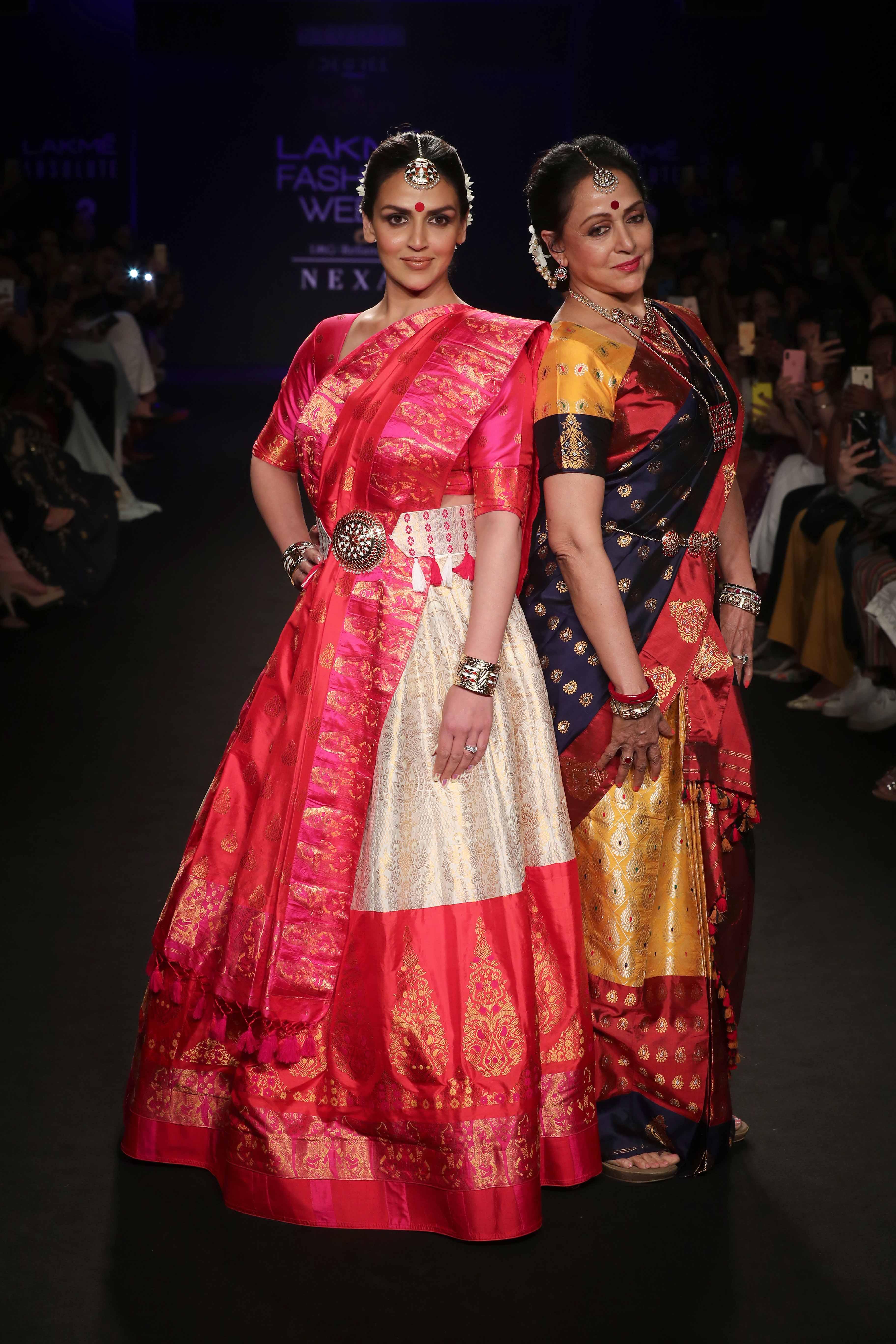 Esha Deol and Hema Malini for Sanjukta Dutta at Lakme Fashion Week Winter Festive 2018