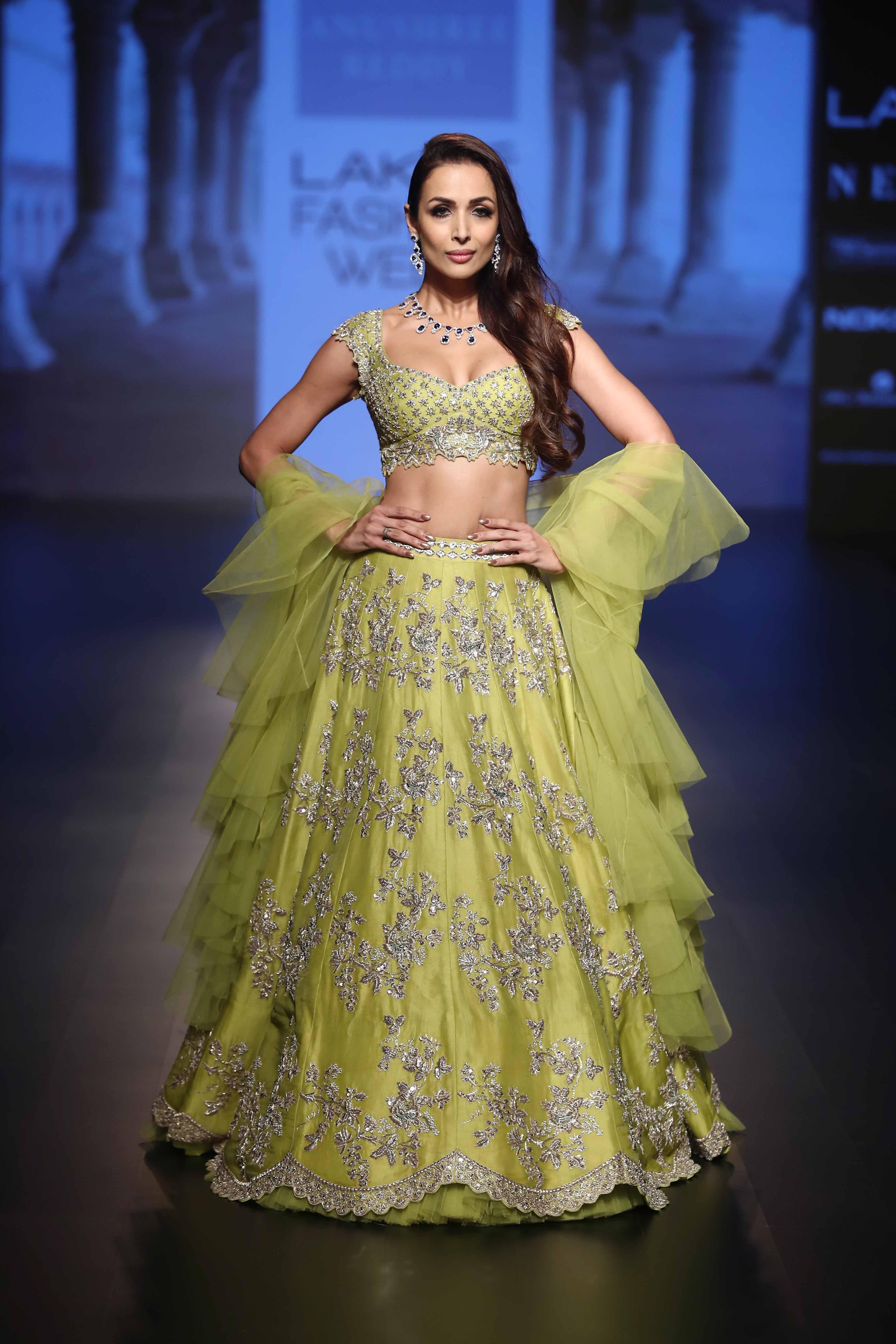 Malaika Arora for Anushree Reddy at Lakme Fashion Week Winter Festive 2018