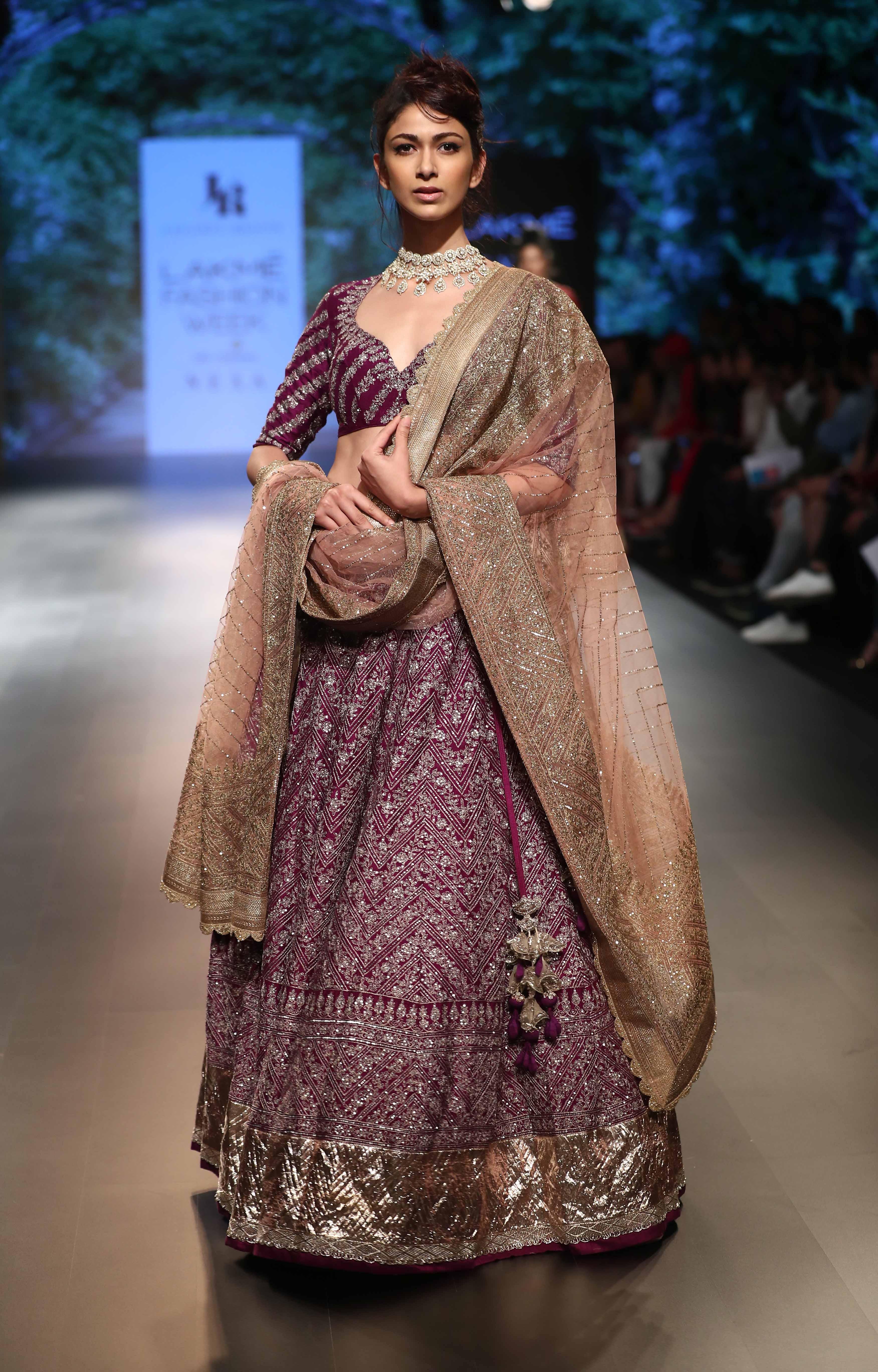 Model walks for Jayanti Reddy at Lakme Fashion Week Winter Festive 2018