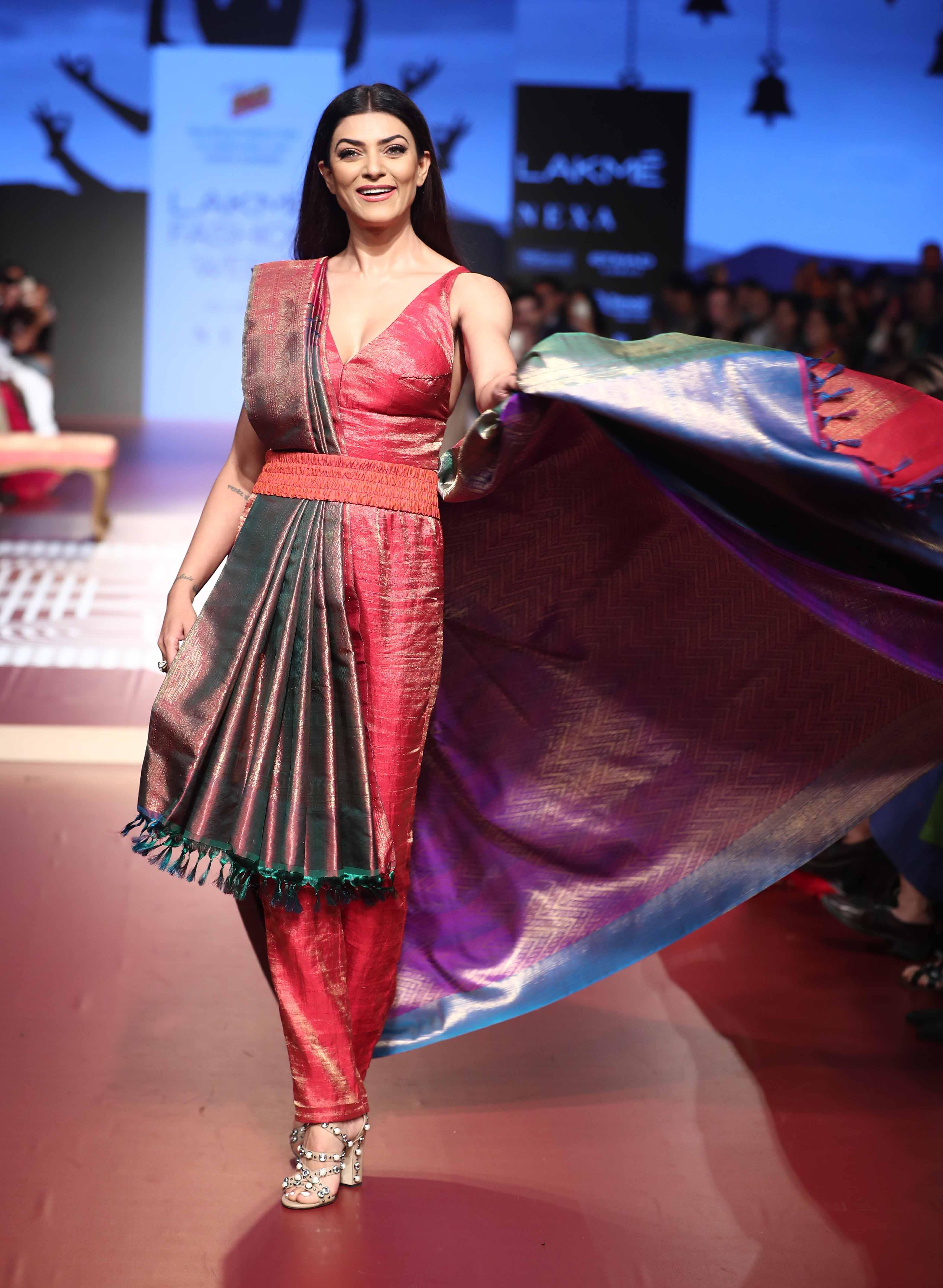 Sushmita Sen at the RmKV X Sunita Shanker show at Lakme Fashion Week WF18