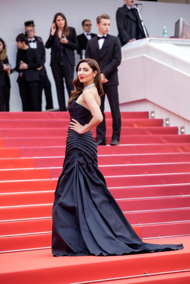 L'Oreal Paris Pakistan Hair Care Spokesperson Mahira Khan at Cannes Film Festival red carpet wearing Alberta Ferretti and Chopard